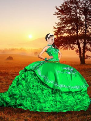 Comfortable Sweetheart Sleeveless 15 Quinceanera Dress Brush Train Embroidery and Ruffles Green Organza
