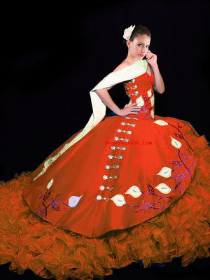Sleeveless Embroidery and Ruffles Lace Up 15 Quinceanera Dress with Rust Red Brush Train