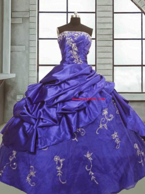 Captivating Floor Length Purple Quince Ball Gowns Strapless Sleeveless Zipper
