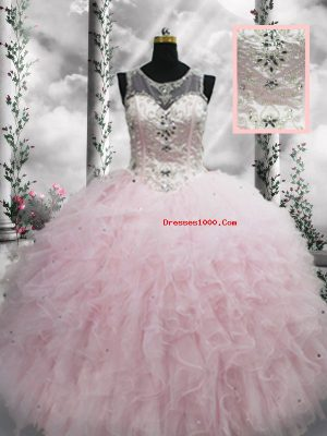 Baby Pink Sleeveless Beading and Ruffles Floor Length Ball Gown Prom Dress