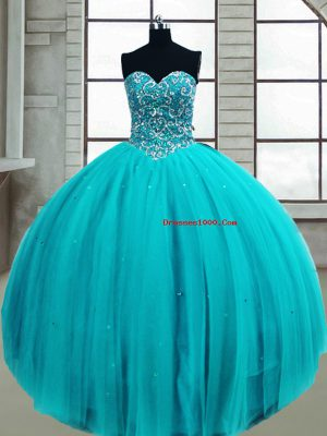 Extravagant Ball Gowns Ball Gown Prom Dress Aqua Blue Sweetheart Tulle Sleeveless Floor Length Lace Up