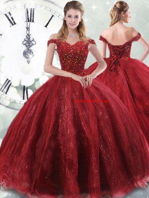 Eye-catching Wine Red Off The Shoulder Neckline Beading Ball Gown Prom Dress Sleeveless Lace Up