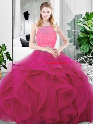 Deluxe Scoop Sleeveless Sweet 16 Dress Floor Length Lace and Ruffles Fuchsia Tulle