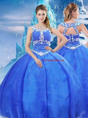 Ball Gowns Ball Gown Prom Dress Blue V-neck Organza Sleeveless Floor Length Zipper