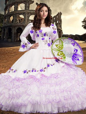 Exceptional Floor Length Ball Gowns Long Sleeves White Quinceanera Dress Lace Up