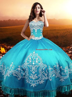 Popular Sleeveless Taffeta Floor Length Lace Up Quinceanera Gowns in Aqua Blue with Beading and Appliques