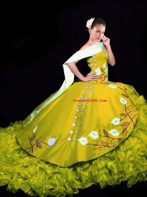 Gold Ball Gowns Sweetheart Sleeveless Organza Brush Train Lace Up Embroidery and Ruffles 15 Quinceanera Dress