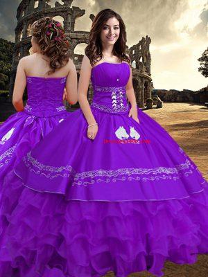 Luxury Strapless Sleeveless Taffeta Quinceanera Dress Embroidery and Ruffled Layers Zipper