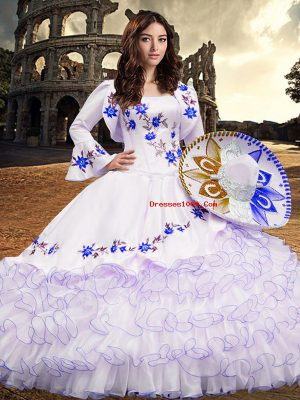 Organza Square Long Sleeves Lace Up Embroidery and Ruffled Layers Quinceanera Dresses in Royal Blue