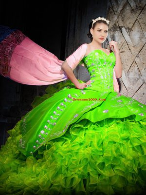 Dazzling Ball Gowns Sweetheart Sleeveless Organza With Brush Train Lace Up Embroidery and Ruffles 15 Quinceanera Dress