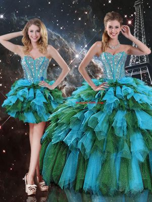Chic Floor Length Multi-color 15th Birthday Dress Sweetheart Sleeveless Lace Up