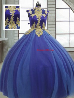 Spectacular Royal Blue Lace Up High-neck Appliques Quinceanera Gowns Tulle Sleeveless