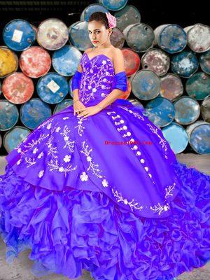 Fantastic Purple Sweet 16 Quinceanera Dress Sweetheart Sleeveless Brush Train Lace Up