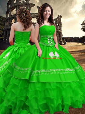 Traditional Green Strapless Zipper Embroidery and Ruffled Layers Quinceanera Dress Sleeveless