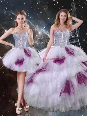 Custom Designed Multi-color Zipper Quince Ball Gowns Beading and Ruffled Layers and Sequins Sleeveless Floor Length