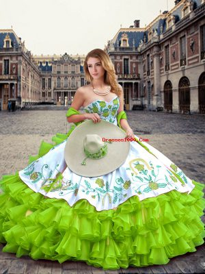 Adorable Ball Gowns Sweetheart Sleeveless Organza Floor Length Lace Up Embroidery and Ruffled Layers Ball Gown Prom Dress