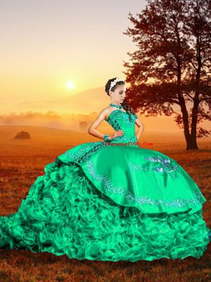 Hot Selling Turquoise Sleeveless Brush Train Embroidery and Ruffles Sweet 16 Dress