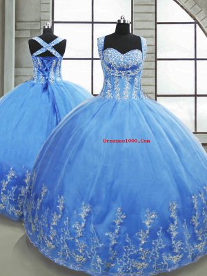 Stunning Baby Blue Lace Up Sweet 16 Quinceanera Dress Beading and Appliques Sleeveless Floor Length