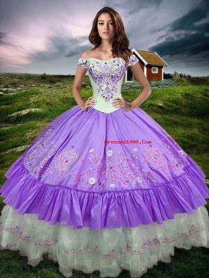 Lavender Off The Shoulder Lace Up Beading and Embroidery and Ruffled Layers Quince Ball Gowns Sleeveless