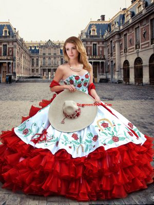 Chic Sleeveless Organza and Taffeta Floor Length Lace Up Quinceanera Gown in White And Red with Embroidery and Ruffled Layers