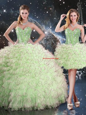 Fabulous Ball Gowns Beading and Ruffles Quinceanera Dresses Lace Up Organza Sleeveless Floor Length