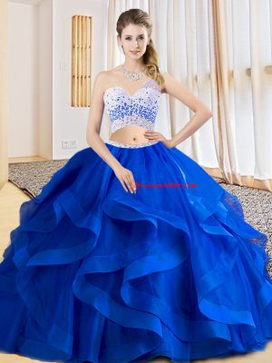 Fitting Tulle One Shoulder Sleeveless Criss Cross Beading and Ruffles Ball Gown Prom Dress in Royal Blue