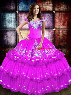 Sumptuous Sleeveless Floor Length Embroidery and Ruffled Layers Lace Up Sweet 16 Quinceanera Dress with Fuchsia