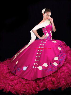 Taffeta Sleeveless 15 Quinceanera Dress Brush Train and Embroidery and Ruffles