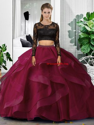 Scoop Long Sleeves 15th Birthday Dress Floor Length Lace and Ruffles Fuchsia Tulle