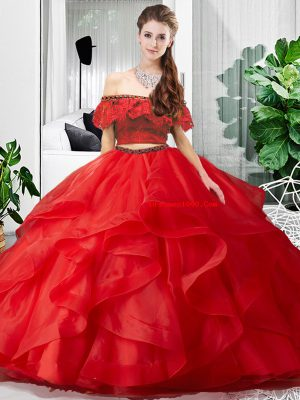 Red Sleeveless Floor Length Lace and Ruffles Lace Up Quinceanera Dresses