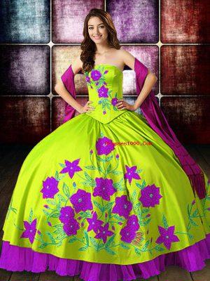 Flirting Floor Length Multi-color Vestidos de Quinceanera Satin Sleeveless Embroidery