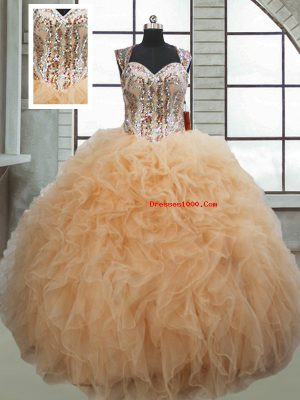 Ball Gowns Quinceanera Dresses Champagne Sweetheart Organza Sleeveless Floor Length Lace Up