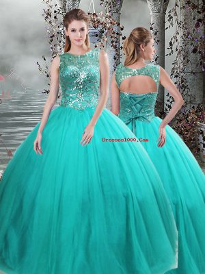 New Style Turquoise Lace Up Quince Ball Gowns Beading Sleeveless Floor Length
