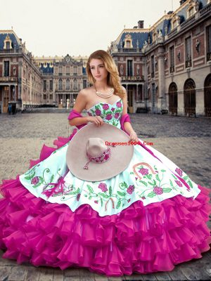 New Arrival Fuchsia Ball Gowns Organza Sweetheart Sleeveless Embroidery and Ruffled Layers Floor Length Lace Up Sweet 16 Dress