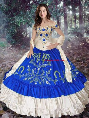 Off The Shoulder Sleeveless Ball Gown Prom Dress Floor Length Embroidery and Ruffled Layers Royal Blue Taffeta