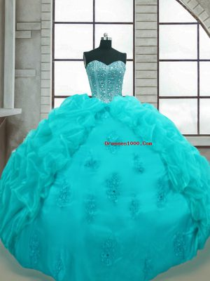 Aqua Blue Sweetheart Lace Up Beading and Appliques and Pick Ups Sweet 16 Quinceanera Dress Sleeveless