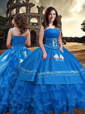 Perfect Strapless Sleeveless Taffeta Sweet 16 Dresses Embroidery and Ruffled Layers Zipper