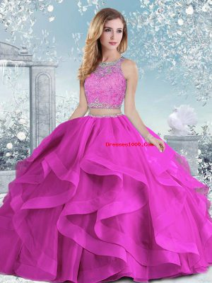 Flirting Beading and Ruffles 15 Quinceanera Dress Fuchsia Clasp Handle Sleeveless Floor Length