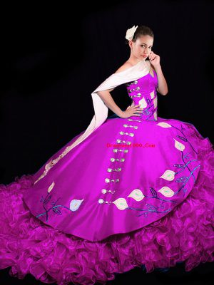 Fuchsia V-neck Lace Up Embroidery and Ruffles Vestidos de Quinceanera Brush Train Sleeveless
