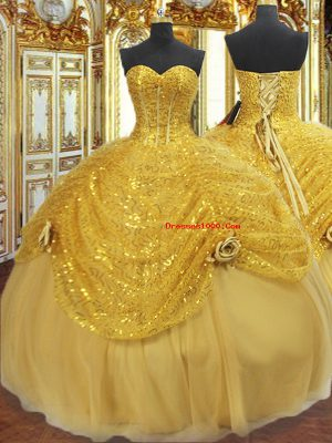 Best Sleeveless Floor Length Pick Ups and Hand Made Flower Lace Up Sweet 16 Dresses with Gold