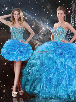 Fashion Ball Gowns Quinceanera Dresses Baby Blue Sweetheart Organza Sleeveless Floor Length Lace Up