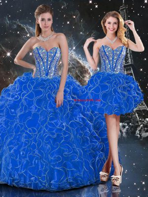 Graceful Floor Length Blue Ball Gown Prom Dress Organza Sleeveless Beading and Ruffles