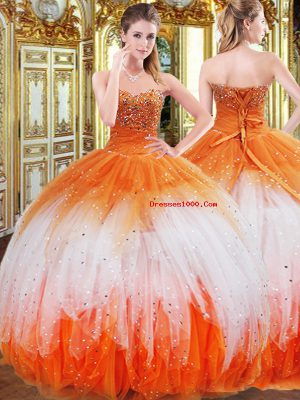Multi-color Lace Up Sweetheart Beading and Ruffles Quinceanera Gowns Organza Sleeveless