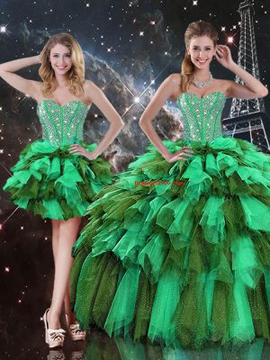 Luxury Multi-color Sleeveless Ruffles and Ruffled Layers Floor Length Quinceanera Gown with Jacket