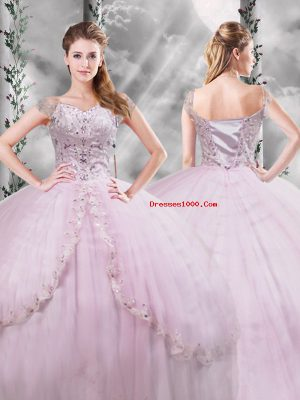 Exquisite Cap Sleeves Brush Train Beading and Appliques Side Zipper Quinceanera Gowns