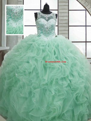 Customized Apple Green Lace Up Quince Ball Gowns Beading and Ruffles Sleeveless Floor Length