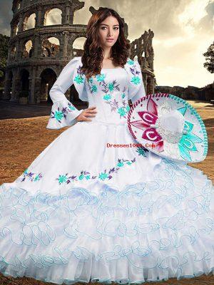 Designer Square Long Sleeves Vestidos de Quinceanera Floor Length Embroidery and Ruffled Layers Aqua Blue Organza