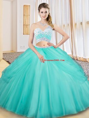 Smart Aqua Blue Sleeveless Floor Length Beading and Ruching and Pick Ups Criss Cross Quinceanera Gown