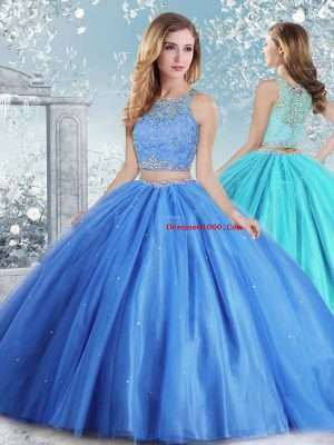 Floor Length Clasp Handle Sweet 16 Dresses Baby Blue for Sweet 16 and Quinceanera with Beading and Sequins