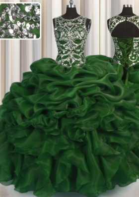 Super See Through Ball Gowns Vestidos de Quinceanera Dark Green Scoop Organza Sleeveless Floor Length Lace Up